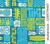 seamless exotic tiki pattern.... | Shutterstock . vector #1359779447