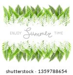 green fern leaves border with... | Shutterstock .eps vector #1359788654