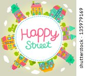 cute cartoon house banner.... | Shutterstock .eps vector #135979169