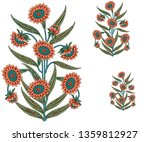 decorative mughal  flower motif ... | Shutterstock . vector #1359812927