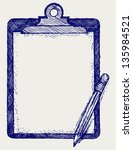 clipboard with pencil. doodle... | Shutterstock .eps vector #135984521