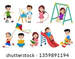 kids playing vector characters... | Shutterstock .eps vector #1359891194