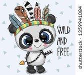 cute cartoon tribal baby panda... | Shutterstock .eps vector #1359941084