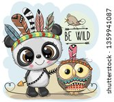 cute cartoon tribal panda and... | Shutterstock .eps vector #1359941087