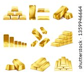 set of gold bars icon.... | Shutterstock .eps vector #1359946664