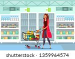 woman with cart in supermarket... | Shutterstock .eps vector #1359964574