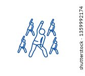 Group Fitness Line Icon Concept....