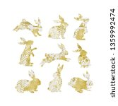 easter bunny silhouettes set... | Shutterstock .eps vector #1359992474