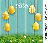 hanging golden easter eggs on... | Shutterstock .eps vector #1359997094