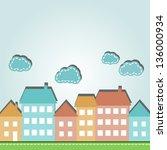 illustration of cartoon city... | Shutterstock .eps vector #136000934