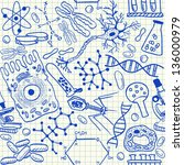 biology doodles on school... | Shutterstock .eps vector #136000979