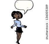 cartoon woman in short skirt | Shutterstock . vector #136005389