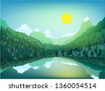 beautiful mountain landscape.... | Shutterstock .eps vector #1360054514