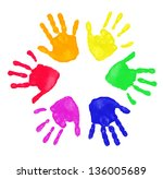 colorful prints of hand | Shutterstock . vector #136005689