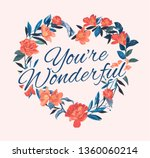 wonderful slogan on flower... | Shutterstock .eps vector #1360060214