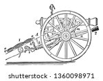 field gun carriage transported... | Shutterstock .eps vector #1360098971