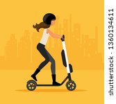 woman ride electric scooter | Shutterstock .eps vector #1360134611