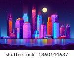 modern new york city cartoon... | Shutterstock .eps vector #1360144637