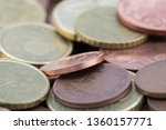 Macro Of Euro Cents Coins....
