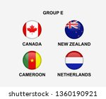 Group E Of Nation Flag In Badge ...