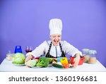 woman chef wear hat apron near...   Shutterstock . vector #1360196681