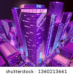 modern skyscrapers illuminated... | Shutterstock .eps vector #1360213661