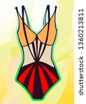 bright bathing suit on an... | Shutterstock .eps vector #1360213811
