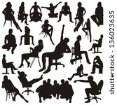 set of sitting people... | Shutterstock .eps vector #136023635