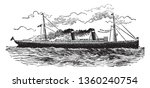 Modern Ocean Steamship is a boat or vessel propelled by steam acting either on paddles or on a screw, vintage line drawing or engraving illustration.