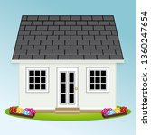 beautiful house with garden.... | Shutterstock . vector #1360247654