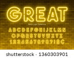 neon light alphabet  extra... | Shutterstock .eps vector #1360303901