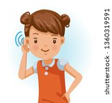 little girl listening. ... | Shutterstock .eps vector #1360319591