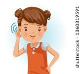 little girl listening. ...   Shutterstock .eps vector #1360319591