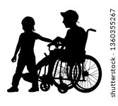 silhouettes disabled in a wheel ... | Shutterstock . vector #1360355267
