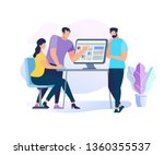 two handsome men stand at table ... | Shutterstock .eps vector #1360355537