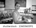a quick cup to start a hectic... | Shutterstock . vector #1360360391