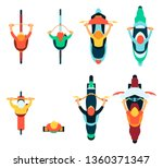 vector people riding bicycles ... | Shutterstock .eps vector #1360371347