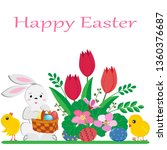 cute easter bunny with a basket ...   Shutterstock .eps vector #1360376687