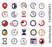 25 set of time icon. clock... | Shutterstock .eps vector #1360384691