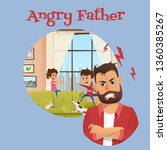 angry father look after playing ... | Shutterstock .eps vector #1360385267