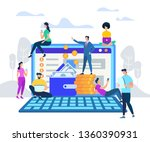 businessman in suit stand on... | Shutterstock .eps vector #1360390931