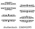header frame with retro floral... | Shutterstock . vector #136041095