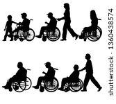 silhouettes disabled in a wheel ... | Shutterstock . vector #1360438574