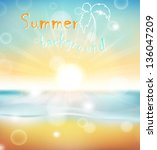 beach and tropical sea with... | Shutterstock .eps vector #136047209