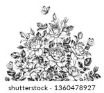 hand drawn rose bush and flying ... | Shutterstock . vector #1360478927