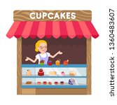 delicious cupcakes booth flat... | Shutterstock .eps vector #1360483607