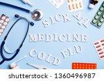 cold medicine  thermometer ...   Shutterstock . vector #1360496987