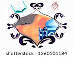 watercolor frame with royal... | Shutterstock . vector #1360501184