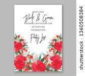 red rose wedding invitation... | Shutterstock .eps vector #1360508384