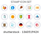 stamp icon set. 15 flat stamp... | Shutterstock .eps vector #1360519424